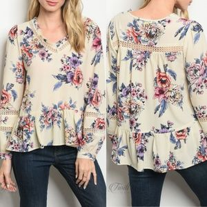 Cream Floral Top {Available}